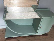 Coiffeuse des années 30 relookée couleur vert licken