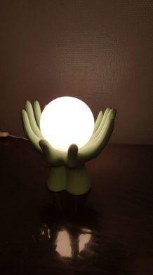 lampe mains vintage globe opaline et céramique verte