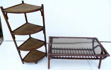 Ensemble table basse et étagère rotin bambou