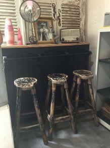 3 tabourets de bar vintage