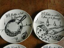 service à fondue vintage Giens noir et blanc