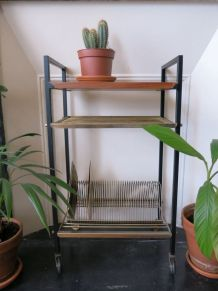 Petit meuble étagère vinyles TOMADO string 50s