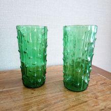 """Paire de vases bullés """"Bambou"""""""