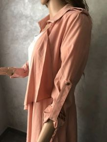 Trench maxi rose-abricot