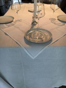 Nappe ancienne blanche lin et coton 85cm