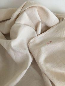 Linge ancien - drap ou nappe, campagne chic
