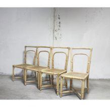 Série de 4 chaises rotin et cannage vintage originales