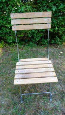 4 chaises pliantes métal et bois