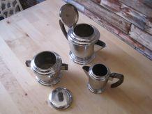 Service a café a thé art déco 3 pièces   en inox et ébène