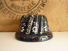 Moule à Kougelhopf, kouglof, bleu à décor floral