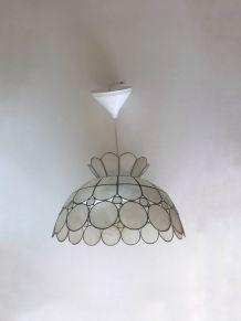 Suspension luminaire vintage nacre et laiton
