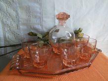 Service à liqueur  VINTAGE rose ancien