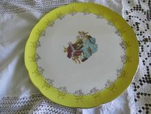 grand plat Digoin - Sarreguemines à sujet galant