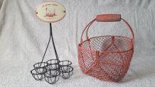Vintage support à œufs et panier à œufs en tiges de fer tres