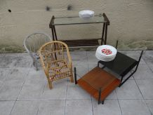 Table basse fauteuil rotin lot brocante