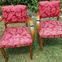 paire de fauteuils bridges bois et tissu
