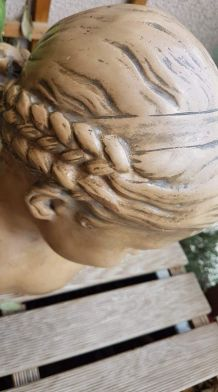 """buste plâtre """"la florentine"""" dite """"la rieuse"""" d'après Jean-B"""