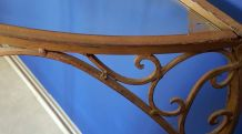 console demi-lune métal marron et plateau en verre vintage