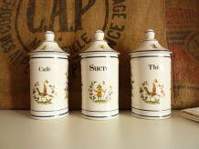Série de pots en céramique, Sucre, Thé et Café