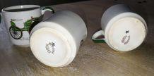 Céramique GIEN /  4 tasses à café motif ancienne voiture
