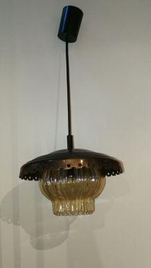 """GRAEWE / Lustre cuivre et verre des années 70's """"Ref 1143"""""""