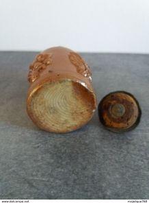 Ancien petit pot à tabac en grès de beauvaisie XIXe
