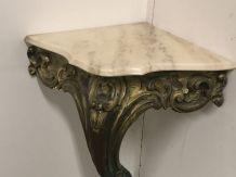 Petite console d'angle style Louis XV, bois doré et marbre