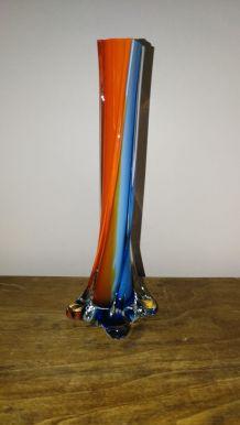 Ancien Soliflor en verre bleu et orange intérieur opaline