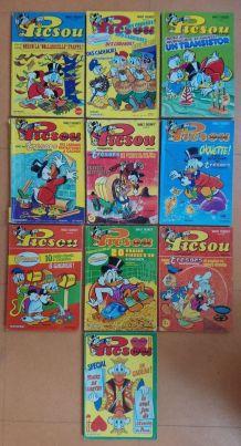 """Lot de 10 revues BD """"Picsou magazine"""" anciennes"""