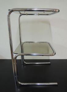 Table d'appoint chrome et verre vintage