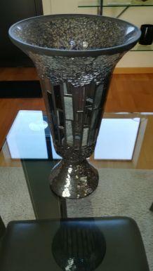 Vase de couleur gris/noir effet miroir
