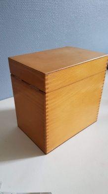 boîte en bois verni  rangement de fiches 3 compartiments