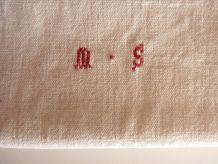 Ancien torchon en Lin, 4 bandes rouges -monogramme MS