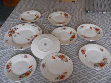 service dessert en porcelaine de Limoges vint