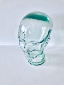 Objet de curiosités, tête vintage décorative en verre