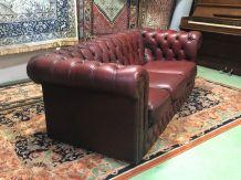 Canapé 3 places en cuir rouge - années 70