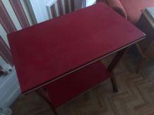 Meuble télé vintage bois et Skaï rouge