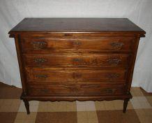 Commode 4 tiroirs ancienne, chêne, à colonnes, vintage