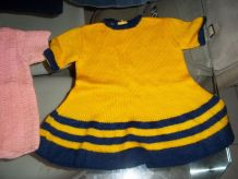 robe jaune et bleu tricottée main