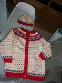 tricot vintage et son bonnet