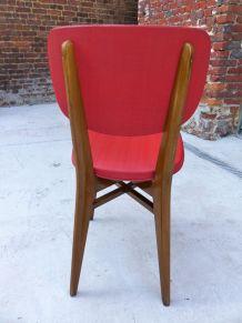 6 chaises bois et skaï rouge