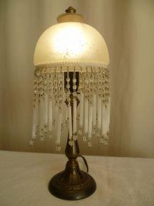 Lampe à poser champignon à pampilles, vintage