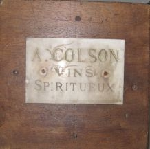 Ancien Plaque de Caviste, Vins et Spiritueux, En  Marbre
