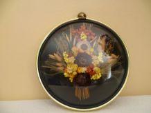 Cadre fleurs séchées, verre bombé, vintage