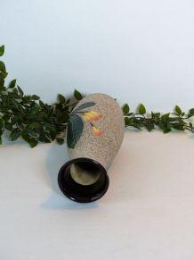 Vase grès décor floral