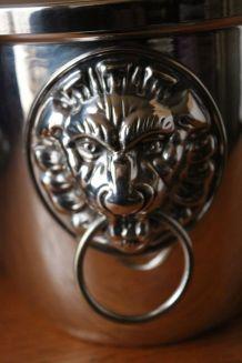 Beau seau à glace métal argenté poignées lions marque orfèvr