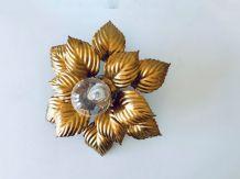 Plafonnier ou applique murale en métal feuilles dorées