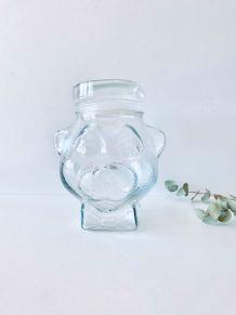 Bonbonnière en verre tête d'ours, pot hermétique vintage