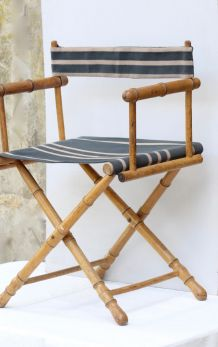 Ancien fauteuil de jardin pliant, metteur en scène