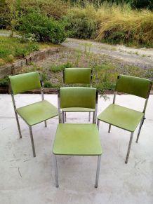 4 chaises inox et skaï pomme granny